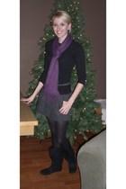 black Forever 21 shirt - purple Charlotte Russe scarf - gray Forever 21 skirt -