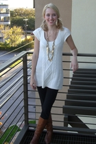 gold Forever 21 necklace - gold Beau and Stella necklace - white Express sweater