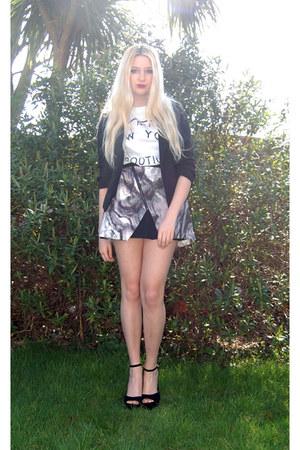 PERSUNMALL skirt - Missguided blazer - River Island t-shirt - Heelberry heels