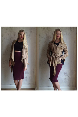 River Island skirt - Nasty Gal coat - Missguided t-shirt