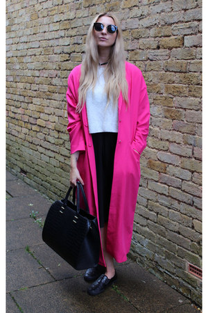 asos coat - Deichmann shoes - H&M bag - OASAP sunglasses - Boohoo top