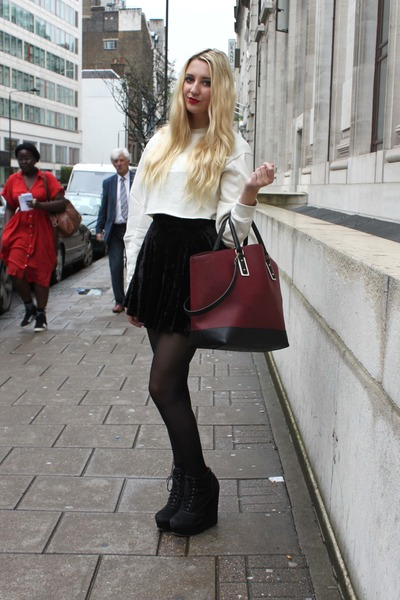 Zara bag - Primark skirt - Kurt Geiger wedges - River Island jumper