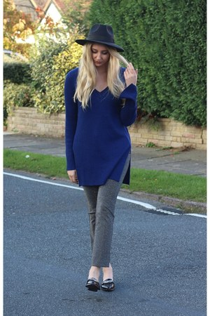 H&M pants - Boohoo hat - H&M jumper - Missguided flats