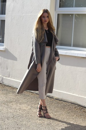 Pretty Little Thing coat - Quiz top - Missguided pants - next heels