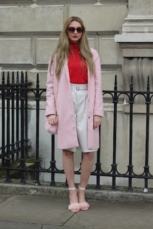 Boohoo coat - Pretty Little Thing bag - Jeepers Peepers sunglasses - Mango top