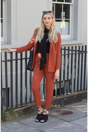 asos blazer - Zara scarf - asos pants - Nelly heels