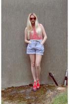6ks shorts - Ebay sunglasses - Topshop top - Jeffrey Campbell heels