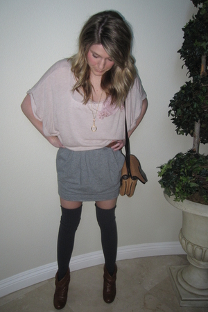 pink shirt - gray Diesel skirt - gray socks - brown shoes