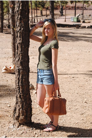 sky blue high wasted shorts - brown purse - black sunglasses