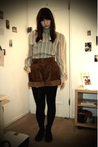 vintage blouse - Episode Vintage shorts - flip flop shoes