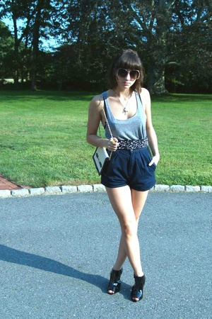 American Apparel top - Zara belt - acne shorts - forever 21 shoes