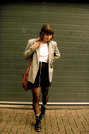 H&amp;M top - Salvation Army blazer - Salvation Army skirt - doc martens shoes