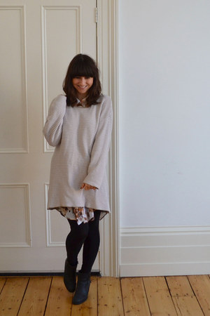 Monki dress - Sacha boots - Monki sweater - H&M necklace