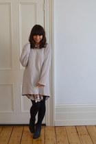 Monki dress - Sacha boots - Monki sweater - H&M necklace