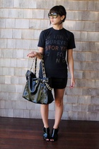 Chanel sunglasses - Radiohead concert tee shirt - Chanel purse - forever 21 shoe