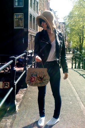 H&M top - H&M jacket - Laura Dols Vintage purse - Cheap Monday jeans