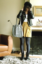 H&M jacket - aa skirt - doc martens shoes - Marc by Marc Jacobs purse