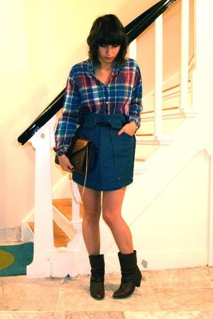 Zipper shirt - self-made skirt - Market purse - vintage shoes