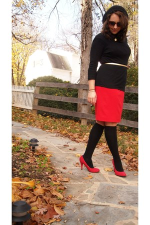 ruby red calvin klein dress - black Gap t-shirt - gold JCrew belt - ruby red Wet