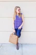 tan Gregory Sylvia bag - tan Gabriella Rocha boots - blue Zoe top