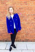red no brand gloves - black Steve Madden boots - blue apt 9 coat
