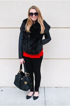 black simply vera jacket - black Michael Kors bag - red Target blouse