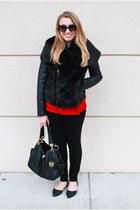 black simply vera jacket - black Michael Kors bag - red Target blouse