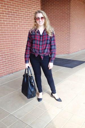 black Diane Von Furstenburg bag - red merona shirt - black asos pants