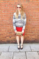 red pencil skirt Andrea Jovine skirt - white h&m divided sweater
