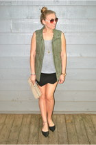 olive green Old Navy vest - heather gray Topshop top - black Forever 21 skirt
