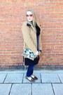 Tan-dana-buchman-coat-blue-levis-jeans-gray-calvin-klein-sweater