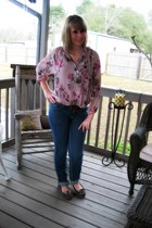 light pink Lauren Conrad blouse - navy New York & Company jeans