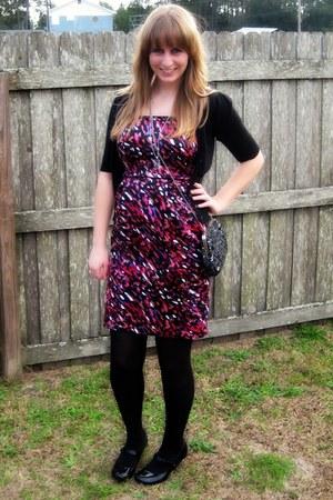 black pink splatters apt dress - black New York and Company tights - black sequi