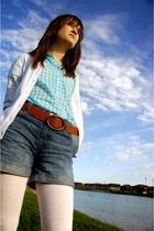 blue Old Navy shirt - white Gap cardigan - brown Gap belt - blue GapKids shorts