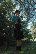 black Sara Lanzi skirt - gray Diesel t-shirt - blue Marc by Marc Jacobs sweater