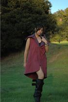 pink tinc vest - black balenciaga boots - black Topshop dress - silver Tag Heuer