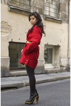 red wool swacket Harputs OWN coat - black PROENZA SCHOULER shoes