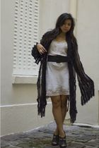 black If Six Was Nine cardigan - beige vintage dress - black Barneys shoes - sil