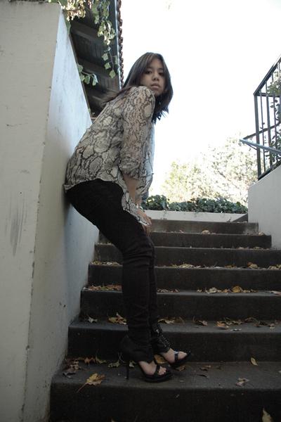 beige emanuel ungaro blouse - black Cheap Monday jeans - black Givenchy shoes -