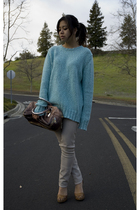 blue Opening Ceremony sweater - beige Helmut Lang leggings - pink Prada purse -