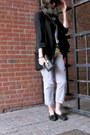 Black-wilfred-blazer-black-minnetonka-flats-silver-sevens-pants-burnt-oran