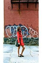 red groggy coat - black Marc by Marc Jacobs bag - black Minnetonka flats