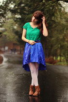 green lace dress - light brown boots - ivory lace tights - navy skirt