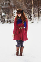 dark brown boots - brick red sweatshirt dress - navy floral leggings