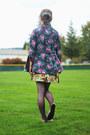 Hot-pink-floral-jacket-coral-shirt-puce-lace-tights-mustard-floral-skirt