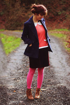 navy jacket - camel boots - salmon printed sweater - hot pink leggings