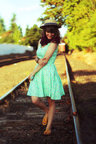 aquamarine ice cream dress - navy polka dot hat - yellow sandals