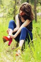 purple floral dress - blue pants - hot pink two-toned heels