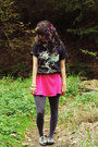 Hot-pink-dress-sky-blue-three-wolf-moon-shirt-gray-tights