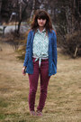Coral-boots-off-white-lace-shirt-navy-denim-shirt